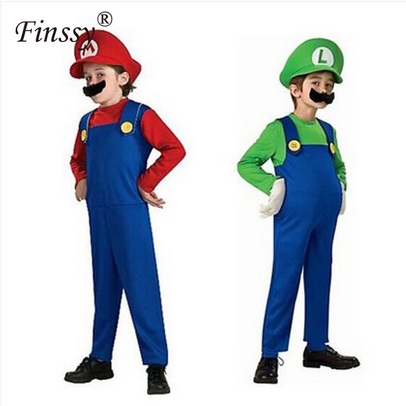 Super Mario Cosplay Costume for Boys Mario Luigi Brother Halloween Costume for Kids Children Girls Fantasia Cosplay Jumpsuit