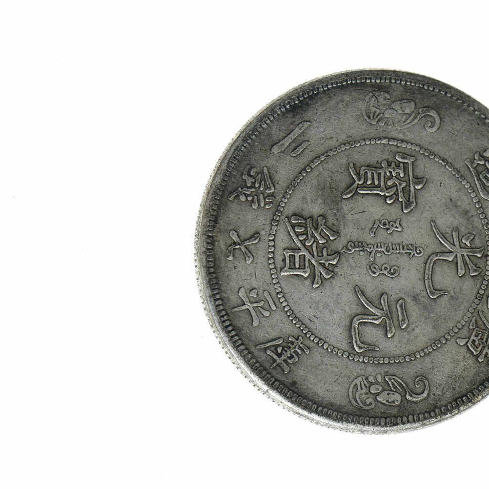 Dragões duplas Taiji baguas Sinal Prata Réplica Moeda de Bronze Feng shui Tongbao Moedas Da Sorte para a Fortuna Chinesa Antiga Estrangeira