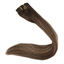 Full Shine Clip In Ombre Hair Extensions Straight Remy Human Hair 9Pcs Color #4 Dark Brown Fading to #24 Highlighted Extensions