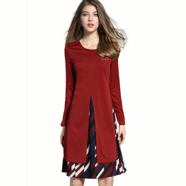New Spring 2017 Womens Plus Size Geometric Pattern Stitching Aline