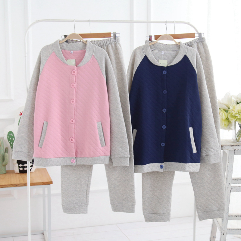 PP Cotton Pajamas for Women & Men Home Clothes for Couples Tracksuit Women Men Pajama Sets Warm Sleepwear Early Spring Home Suit