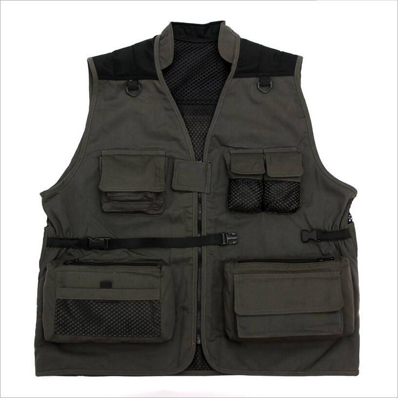 LISYRHJH 2018 Mens Mesh Vests With Multi-pocket Photographer Vest Causal Style Vest Regular Solid Men Vest Free Delivery