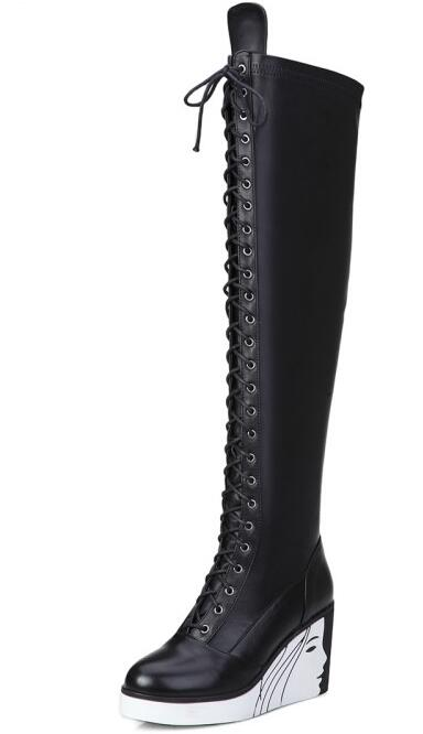 Women Winter Full Grain Leather Wedges Lace Up Round Toe Chunky Heel Fashion Over The Knee Boots Size 33-40 SXQ1006 high quality full grain leather and pu martin boots size 40 41 42 43 44 zipper design lace up decoration round toe boots