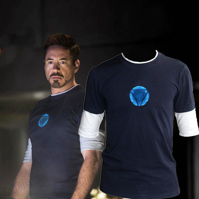 Iron Man 3 Tony Stark Navy Blue T-shirt Night Luminous Mid Sleeve t Shirt Tee Blue Logo Tops