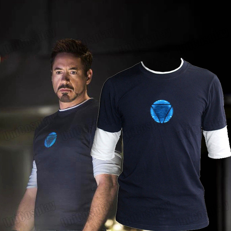 Iron Man 3 Tony Stark Navy Blue T-shirt Night Luminous Mid Sleeve t Shirt Tee Blue Logo Tops