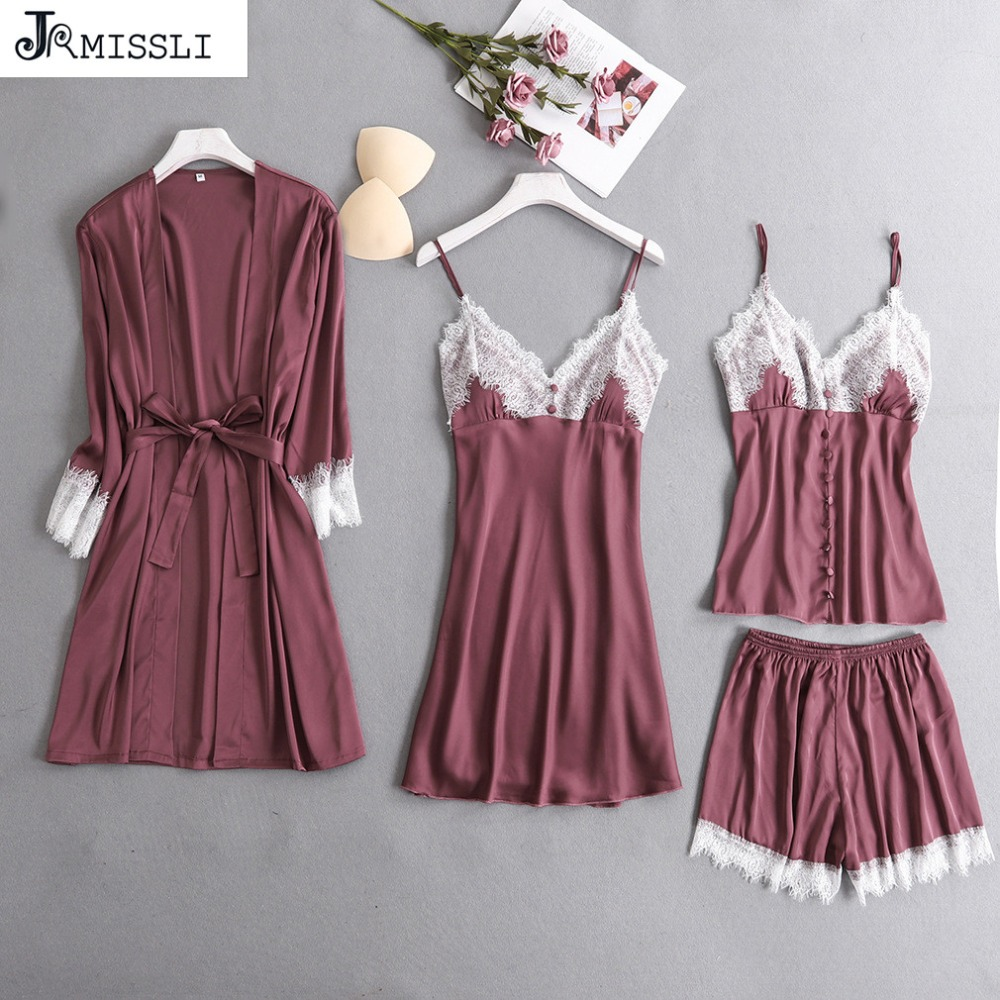 JRMISSLI Satin Sleepwear with Chest Pads Sexy Women Pajamas Lace Slik Sleep Lounge 4 Pieces Sets Embroidery Ladies Home Clothing