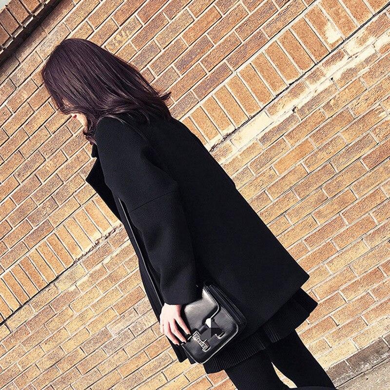 Taille Survêtement Lâche Pour De Manteau Mode Black Laine Turn Femmes Automne Nouveau Collar Mélanges Plus Hiver Grande down Noir Les La Z7wHqY