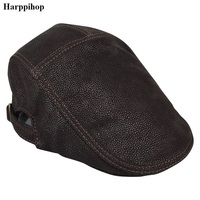 2018 Genuine Leather Windproof Duckbill Berets Man Cap Cowhide Gorras Black Ear Protection Casquette Hats For Male Drake Boina