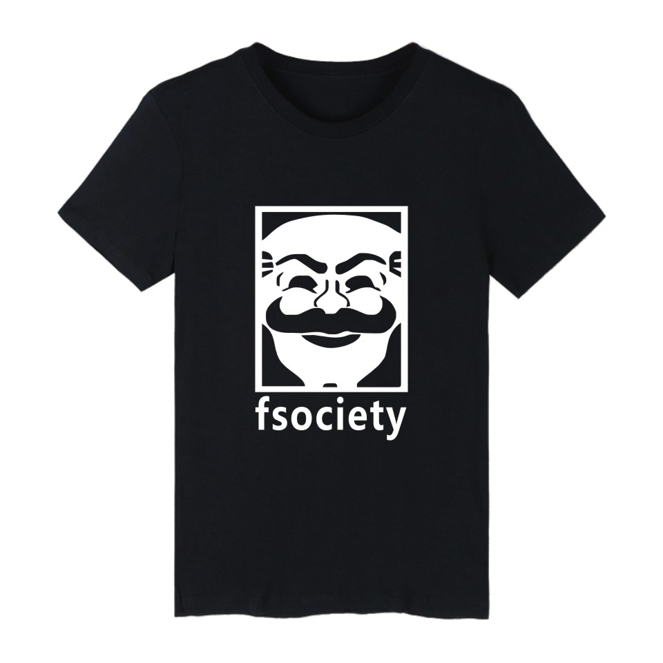 Mr Robot Fsociety Short Sleeve Tshirt Men Brand Casual Funny Tee Shirt Men Cotton U.S. Television Series Fashion T Shirt Men 4XL