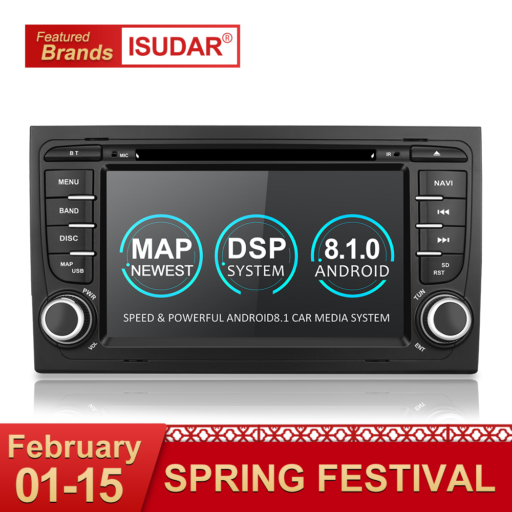 Isudar 2 Din Auto Lettore Multimediale GPS Android 8.1.0 DVD Automotivo Per Audi/A4/S4 2002-2008 radio Quad Core RAM 2 GB ROM 16 GB
