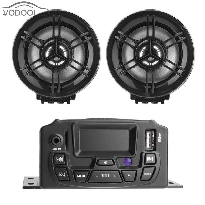 3 LCD Display Motorcycle Speaker Stereo Sound System USB TF Card Music MP3 Player Audio FM