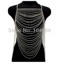 WINTER ARRIVALS!!! FASHION WOMEN JEWELRY GOLD/SILVER MULTI WAVES METAL COVERED CHAINS JEWELRY BODY CHAINS JEWELRY
