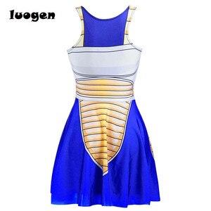 Image 4 - Sexy Girl Summer Dress Dragon Ball Cosplay Son Goku Vegeta Reversible Sleeveless Skater Women Pleated One Piece Dress Plus size