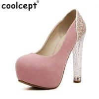 נשים נעלי חתונה פלטפורמת גברות עקבים גבוהים 2016 גביש מותג אופנה משאבות נעלי Zapatos נשי עם עקבים גבוהים גודל 35-39