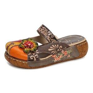 Женские сандалии из натуральной кожи с аппликацией, летние туфли с круглым носком в стиле ретро, женские богемные сандалии с цветами, весна-...