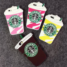 Hot Sale 3D Cartoon Silicon Starbuck Coffee Cup Case Cover for Apple iPhone 4 4s 5 5s 6 4.7″ 6 Plus Mobile Phones Free shipping