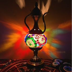 Image 5 - Newest E14 Hand inlaid glass Morocco Style mosaic light bedroom living room decorative Table Lamp Turkish Lampe