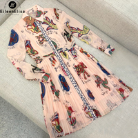 Designer Brand Luxury Women Dress 2018 High Quality Luxury Women Dress Retro Printed Silk Dress Women