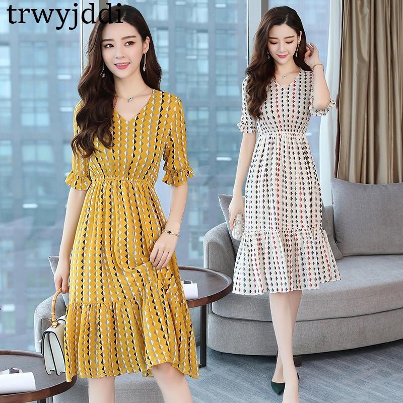 2018 nouveau été grande taille 4XL 5XL femmes Slim robe grande taille rétro manches courtes col en v en mousseline de soie robe A998