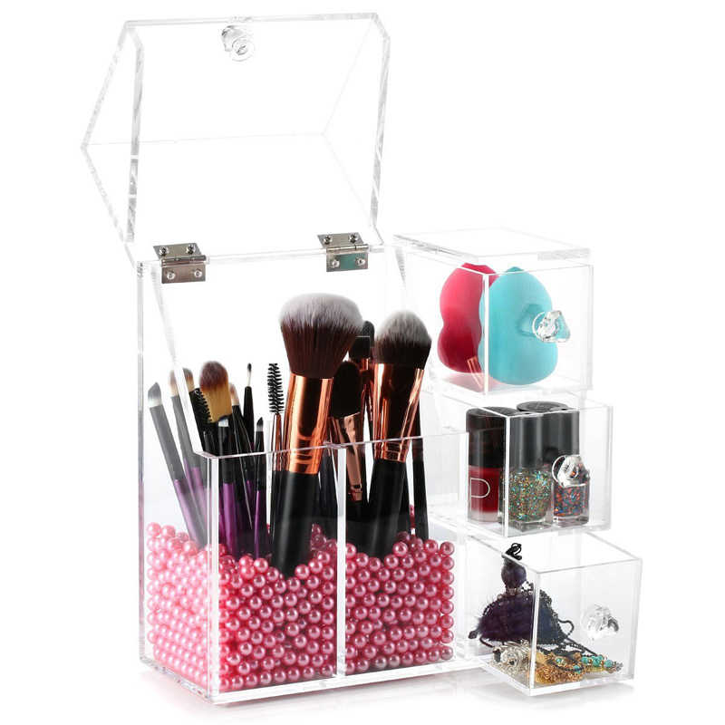 Fashion Clear Acrylic Pearl Box Cosmetic Organzier Lipstick Makeup Brushes Holder Cotton Swab Box Women Makeup Tools Container