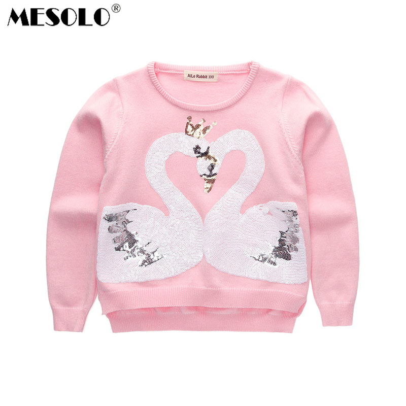 MESOLO 2017 autumn and winter new girls, Korean version sequins, swan sweater, children's round neck sweater.