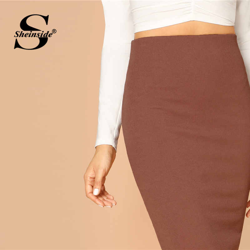 Image 4 - Sheinside Elegant Coffee Bodycon Midi Skirt Women 2019 Spring Mid Waist Pencil Skirts Office Ladies Workwear Solid Skirt-in Skirts from Women's Clothing