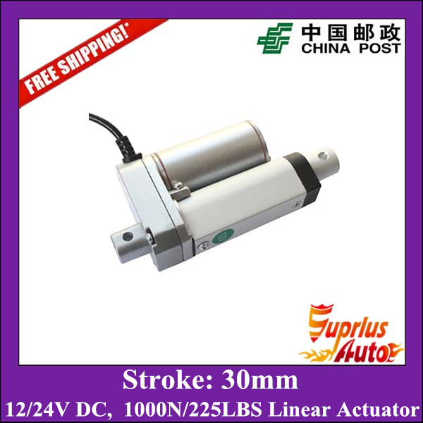 Free shipping 30mm stroke super mini 12volt linear actuator with max load 1000N 100KGS 225LBS linear