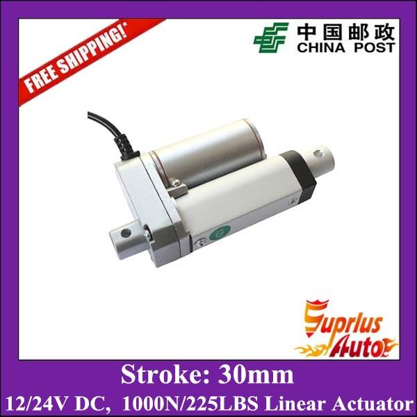 Бесплатная Доставка 30 мм ход супер мини 12 вольт линейный привод с максимальная нагрузка 1000N/100KGS/225LBS линейный двигатель