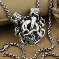 925 Sterling Silver Skull Engine Cross Mens Biker Pendant 9P010A Ghost Rider(Necklace 24inch)