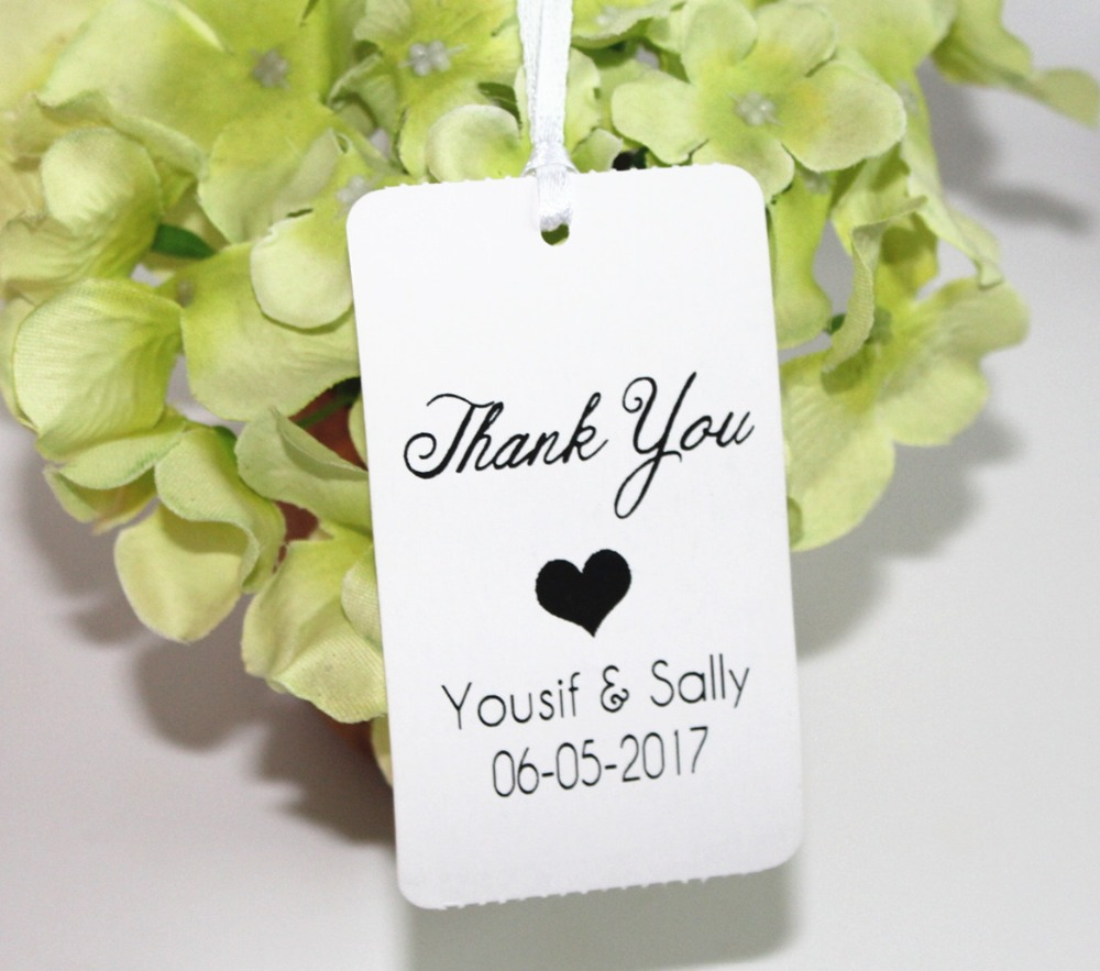 50 wedding Personalised Printed Thank you tags Favour Gift Luggage ...