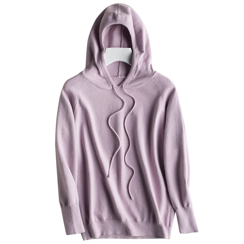 2018 Spring and Autumn New Women Cashmere Sweater Hooded Collar Pullovers Solid Color Knit Jacket Bottomed