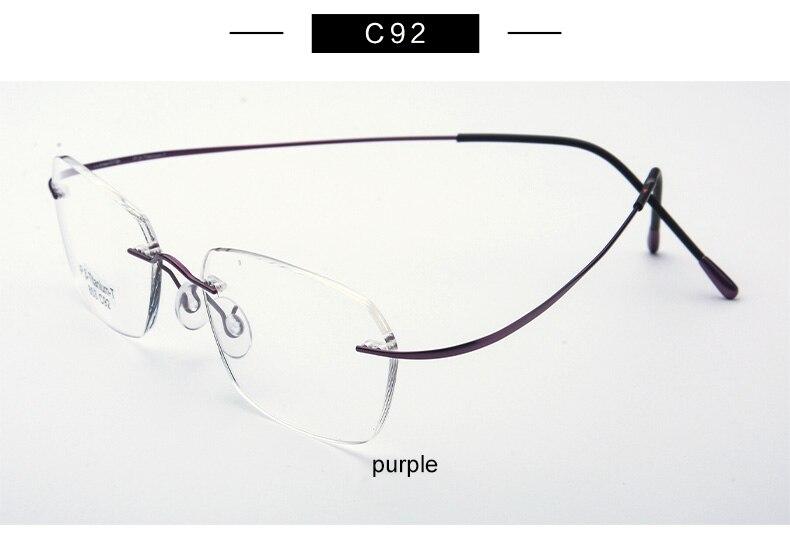 426eb29eef3231 Pure Titanium Brillen Randloze flexibele Optische Frame Recept ...