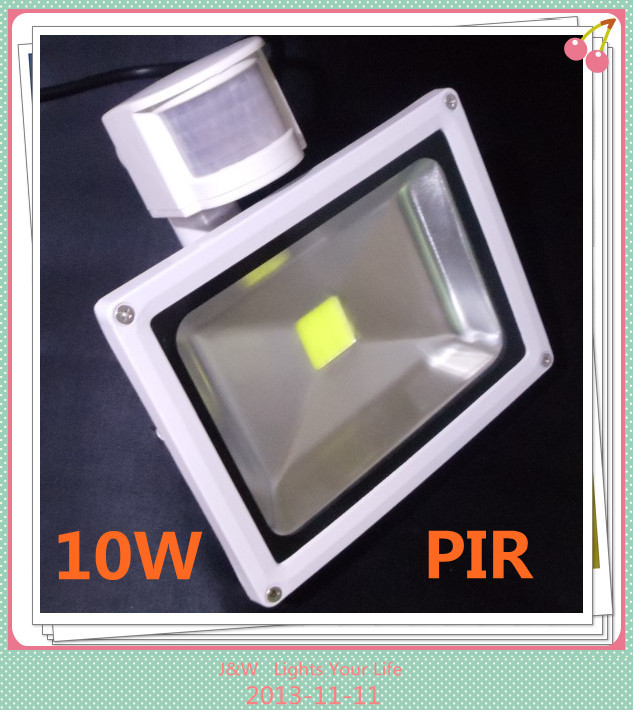 10pcs/lot, White Shell DHL Free Shipping 10W PIR Motion Detective Sensor LED Flood light Waterproof IP65 Outdoor Floodlight