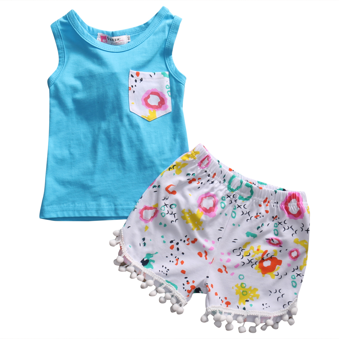2PCS Toddler Girl Clothing Summer Kids Infant Baby Girls Tops Cotton Sleeveless T-shirt+Floral Tassel Shorts Kids Clothes Outfit hot sale 2016 kids boys girls summer tops baby t shirts fashion leaf print sleeveless kniting tee baby clothes children t shirt