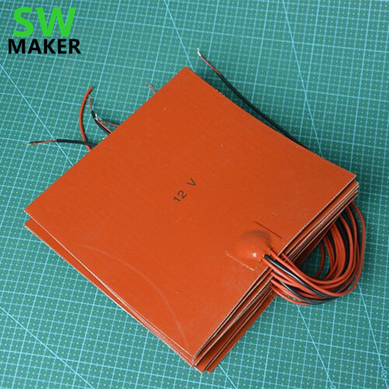 200x300mm 12V/24V 3D printer square silicone heater sheet, silicone rubber heating plate / pad, silicone dielectric / sheet 24v 150w 50x250mm silicone heater pad car fuel filter diesel heater 65 deg c with thermostat moldes de silicone electric heating