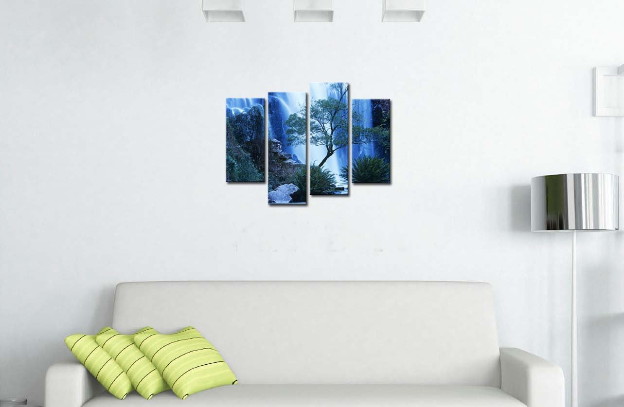 4 pieces modern canvas painting wall art australia waterfall in forest waterfall landscape print on canvas for wall decor in painting calligraphy from