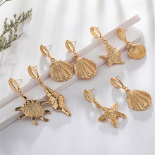 New Bohemian Starfish Scallop Conch Earring For Wome Charm Gold Alloy Fashion Ocean Jewelry Gifts