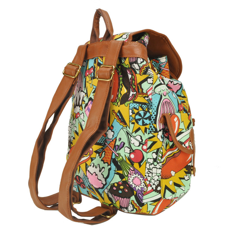 New Arrival Colourful  Printing  Backpack For Students School Rucksack Shoulder Bags  QQ1703
