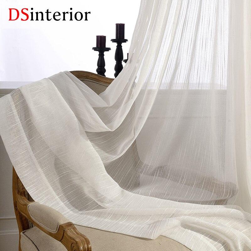 DSinterior blanc couleur tulle sheer rideau pour chambre ou salon fenêtre