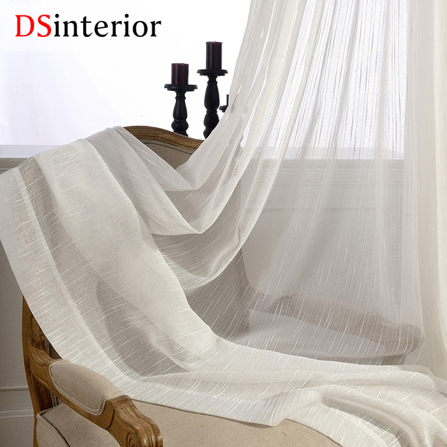 DSinterior colore bianco di tulle sheer tenda per la camera da letto o soggiorno