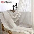 DSinterior cor branca de tule pura cortina para janela do quarto ou sala de estar