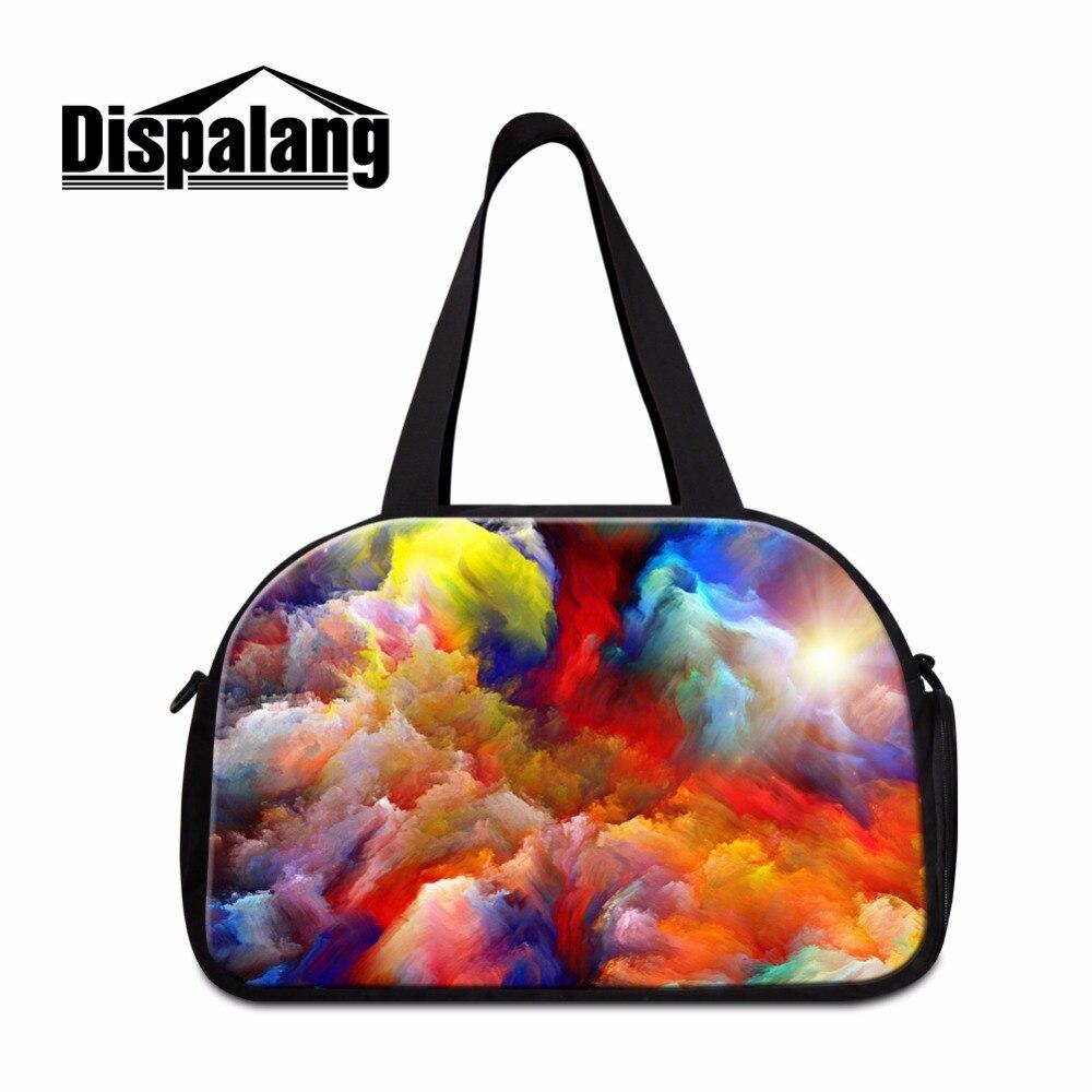 Dispalang Large capacity travel duffle tote bags watercolor print women travel bag+independent shoe bit casual female duffle bag