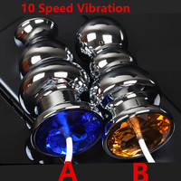 10 Speed Vibrating Metal Anal Butt Plug Anus Stimulator In Adult Games For Couples , Fetish Sex Toys For Women And Men