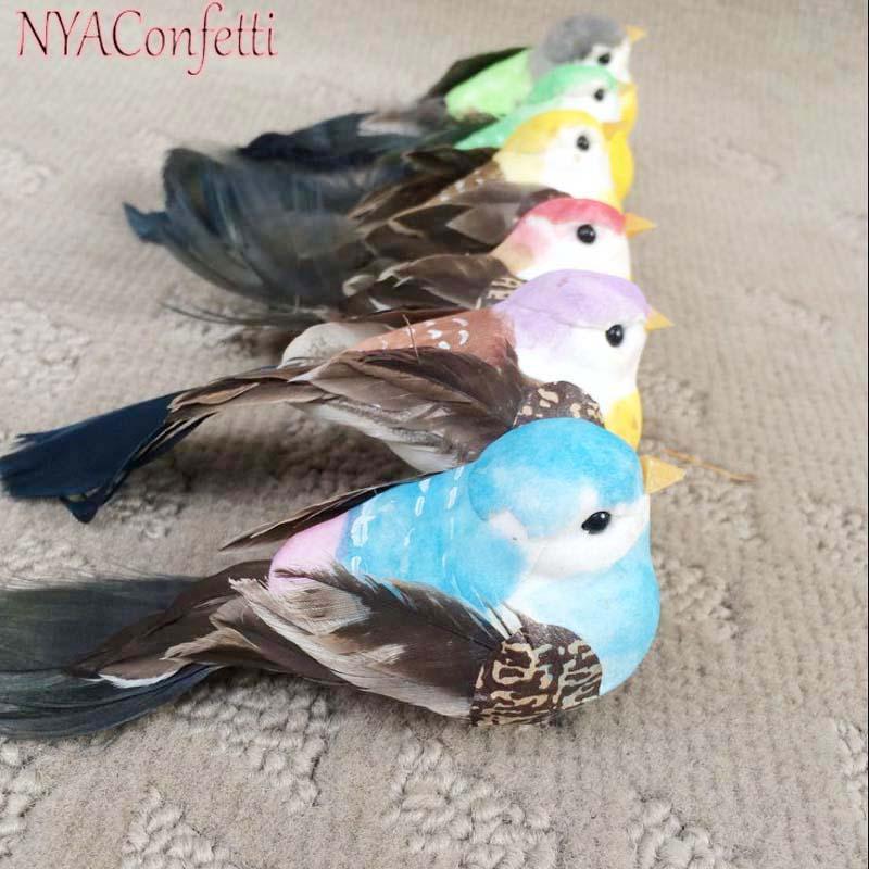 12PCS, 6barevný, 12 * 4 * 4CM, pěnové peří Fake Bird, dekorativní umělé ptáky s magnetem / nohou / klipem, DIY řemeslné svatební dekorace