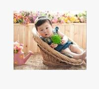 Factory Direct Sales Studio Props Rattan Weave Baby Photo Basket Children One Hundred Days Basket Photographic