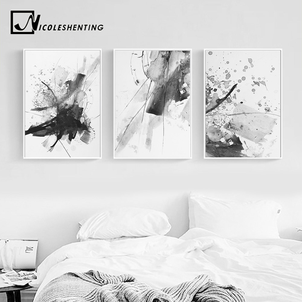 Black And White Paintings For Bedroom Bedroom Sets Black Modern Bedroom Black Bedroom Furniture Sets Pictures: Black White Watercolor Abstract Realism Wall Art Canvas