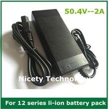 Cargador de iones de litio de 50.4V2A, cargador de 50,4 V 2A para paquete de baterías de litio de 12S