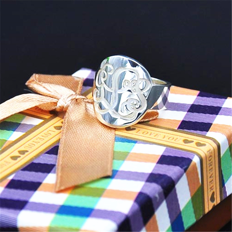 Argent massif rétro monogramme anneau personnalisé gravé 3 initiales cercle anneau personnel unisexe bijoux
