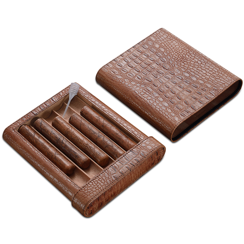 COHIBA High-end Gadget Excellent Leather Solid Wood Portable Cigar Case Holder Travel 5 Lined Cedar Wood Tube W/ Siphon Pipe