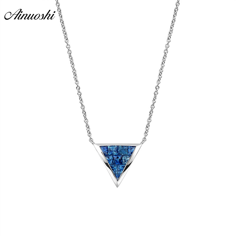 AINUOSHI 18K Natural Gemstone  Sky Blue Sapphire Necklace  10mm Triangle Shaped Pendant  Exquisite Pendant Necklaces Link ChainAINUOSHI 18K Natural Gemstone  Sky Blue Sapphire Necklace  10mm Triangle Shaped Pendant  Exquisite Pendant Necklaces Link Chain